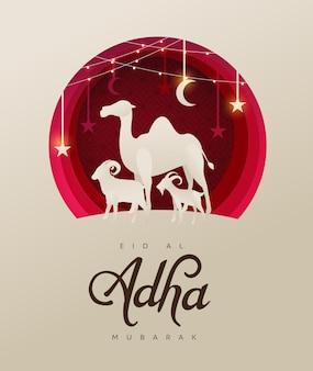 Eid al adha mubarak świętowanie społeczności muzułmańskiej festiwal projekt tła z wielbłądami owiec i kóz w stylu cięcia papieru
