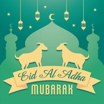 Eid al adha mubarak tło z kozą
