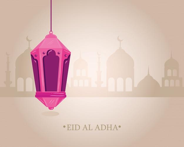 Eid al adha mubarak, uczta szczęśliwej ofiary, z wiszącą latarnią i sylwetką miasta arabia