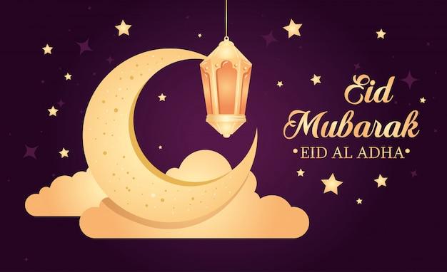 Eid al adha mubarak, uczta szczęśliwej ofiary, z wiszącą latarnią, księżycem z chmurami i dekoracją gwiazd
