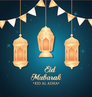 Eid al adha mubarak, uczta szczęśliwej ofiary, z wiszącymi lampionami i girlandami