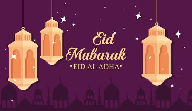 Eid al adha mubarak, uczta szczęśliwej ofiary, z wiszącymi latarniami i sylwetką miasta arabia