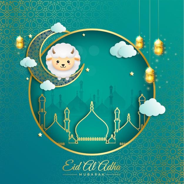 Eid al adha mubarak z półksiężycem latarni i owcami