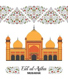Eid al adha tło islamski arabski meczet arabeska kwiatowy wzór gałęzie z kwiatami liście...