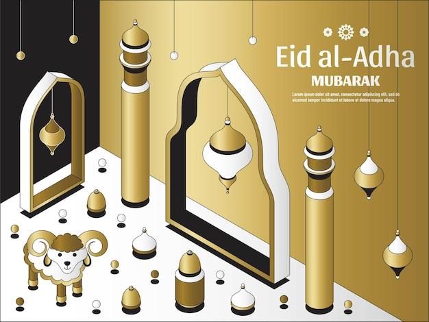Eid al adha tło izometryczne islamskie arabskie meczetowe lampiony i owce festiwal z życzeniami ...