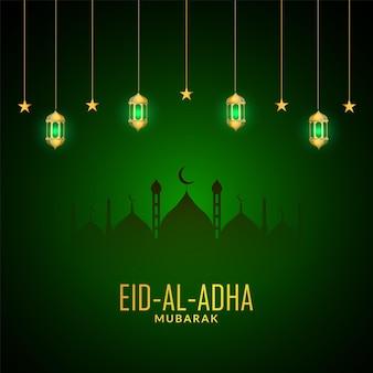 Eid al adha zielony kolor ze złotą lampą