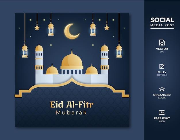 Eid al fitr szablon postu w mediach społecznościowych