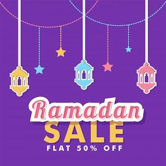 Eid baner na sprzedaż, latarnie i mieszkanie 50% zniżki na fioletowym tle.