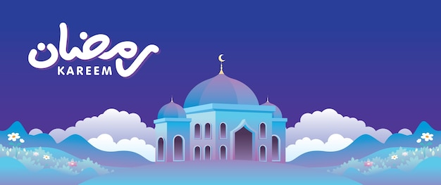 Eid mubarak banery z meczetem i tłem naturalnego krajobrazu.