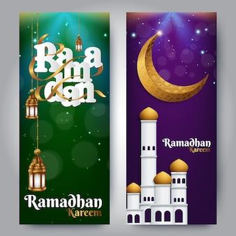Eid mubarak banery z pozdrowieniami dla muzułmańskich świąt religijnych
