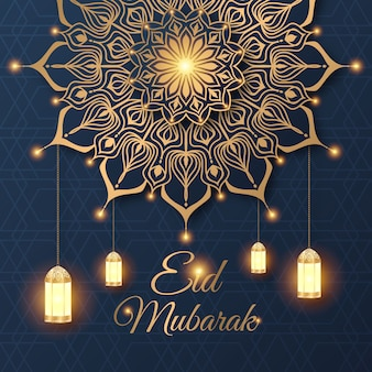 Eid mubarak festiwal celebracja tło z luksusowym mandali i zdobione lampy