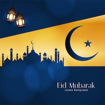 Eid mubarak festiwal dekoracyjne niebieskie tło