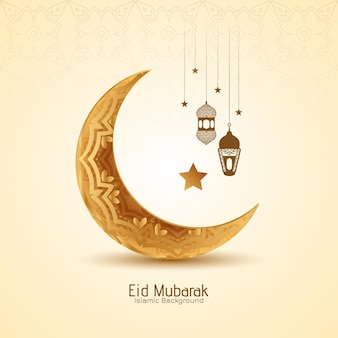 Eid mubarak festiwal złoty półksiężyc i latarnie tło