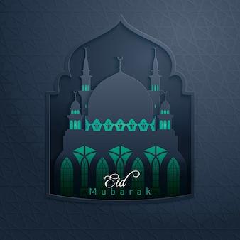 Eid mubarak glow mosque w oknie wzoru