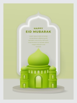 Eid mubarak greeting gift card z 3d ilustracją meczetu na ramadan kareem
