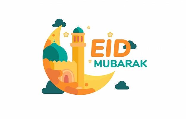 Eid mubarak idul fitri księżyc i meczet piękne gwiazdy płaskie idul fitri pozdrowienia
