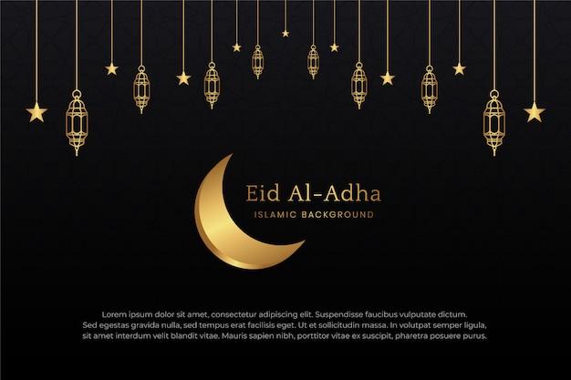 Eid mubarak islamski arabski elegancki tło z dekoracyjnymi złotymi ornamentami obramowanie lampionów