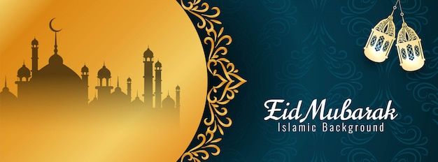 Eid mubarak islamski festiwal religijny sztandar
