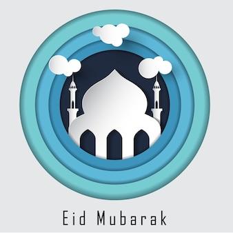Eid mubarak islamski piękny szablon
