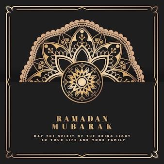 Eid mubarak karta z mandala deseniowym tłem