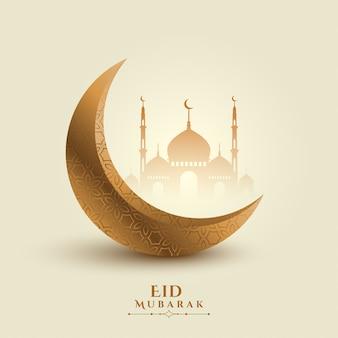 Eid mubarak księżyc i meczet piękne tło
