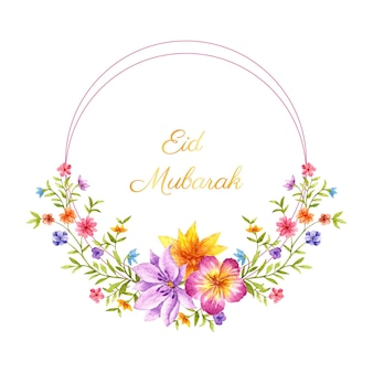 Eid mubarak kwiatowy ramki z życzeniami