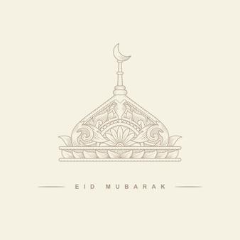 Eid mubarak lub ramadan, święto islamu, ilustracja meczetu z półksiężycem do robienia kartek.