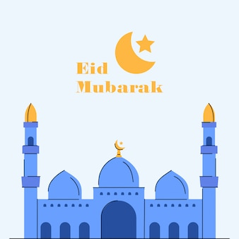 Eid mubarak mosque illustration greeting card