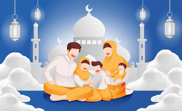 Eid mubarak muzułmańska uroczystość rodzinna razem w domu ilustracja