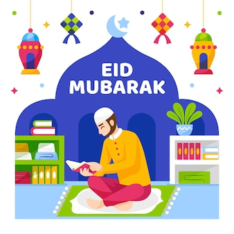 Eid mubarak muzułmańskie czytanie postaci