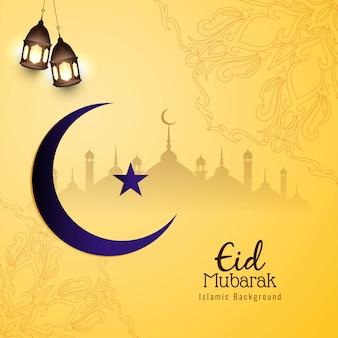 Eid mubarak piękne żółte tło religijne