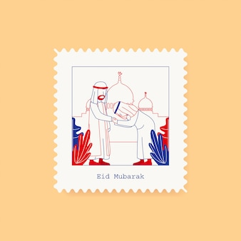 Eid mubarak postcard stamp greeting card