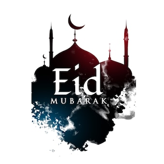Eid mubarak powitanie projekt z meczetem kształt i grunge