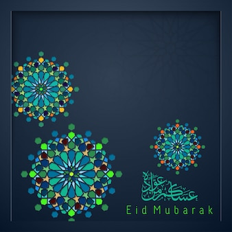Eid mubarak pozdrowienia islamskie maroko wzór kolorowy geometryczny ornament arabski