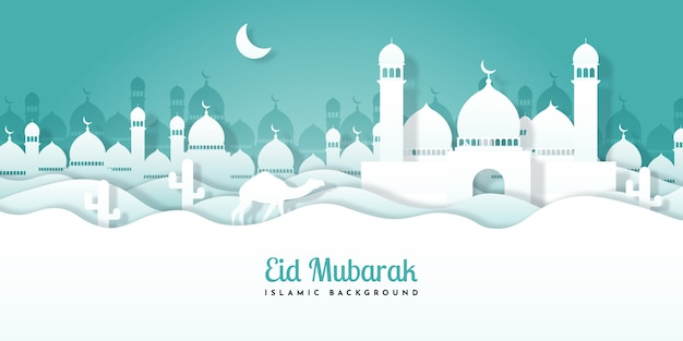 Eid mubarak tła projekta ilustracja