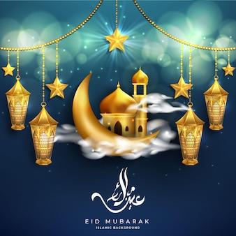 Eid mubarak tło z realistycznymi złotymi latarniami, gwiazdą, meczetem i musującym bokeh