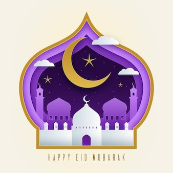 Eid mubarak w stylu papieru z księżycem i meczetem