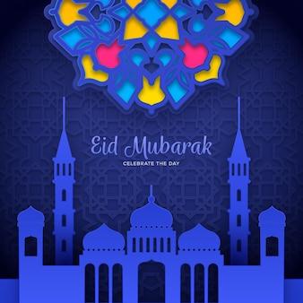 Eid mubarak w stylu papieru z ornamentem i meczetem