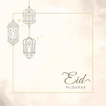 Eid mubarak z ilustracją latarni dla karty z pozdrowieniami
