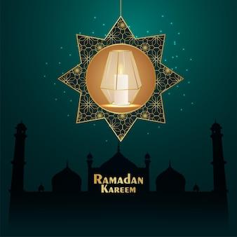 Eid mubarak zaproszenie z życzeniami z ilustracji wektorowych ze złotą latarnią na tle wzoru