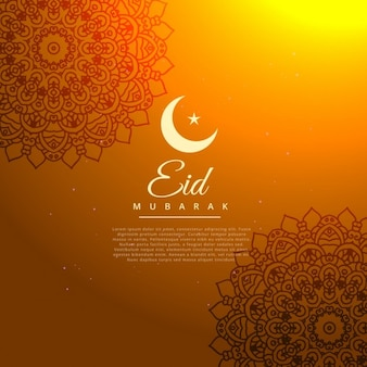 Eid mubarak złotym tle z półksiężycem