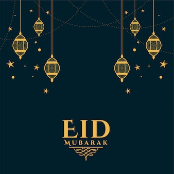 Eid mubarak życzy pozdrowienia z dekoracją latarni