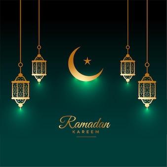Eid ramadan kareem błyszcząca karta z dekoracją lampy i księżyca