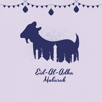 Eid ul-adha mubarak karta na festiwal muzułmański