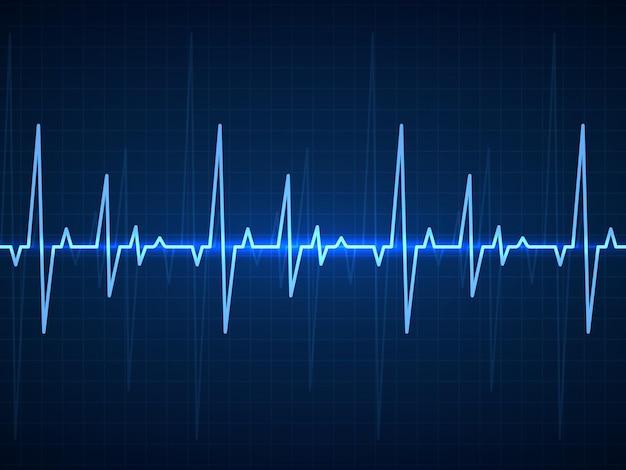 Ekg i niebieskie sinusoidalne linie tętna na monitorze z sygnałem bicia serca