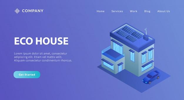 Eko dom z energią słoneczną na energię elektryczną w stylu izometrycznym
