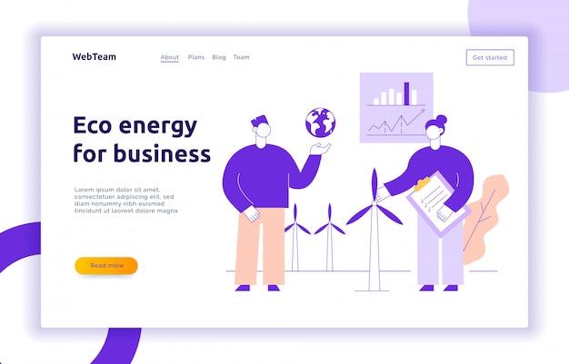 Eko energia dla biznesu nowoczesna strona docelowa z dużymi ludźmi, wiatrem, ziemią