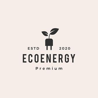Eko energia hipster vintage logo wektor ikona ilustracja