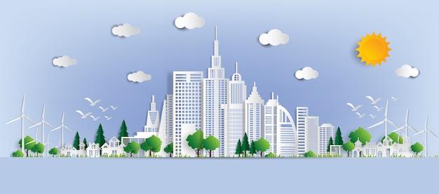 Eko Krajobraz Z Budynkami Wyciętymi Z Papieru. Premium Wektorów