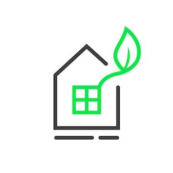 Eko logo okna z cienką linią domu. koncepcja mieszkania, alternatywna energia, innowacja, ubezpieczenie, środowisko, budownictwo, willa. płaski trend w nowoczesnym stylu graficznym marki na białym tle